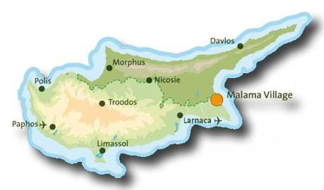 Carte Chypre Protaras.Hotel Malama Village 4 Protaras Chypre Magiclub