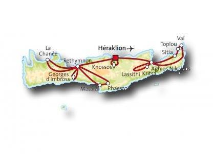 Carte Circuit Crete.Circuit Terre De Legendes Crete Magiclub Voyages